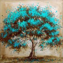 MXJSUA 5D Diamond Painting by Number Kit DIY Full Round Drill Rhinestone Picture Craft Art for Home Wall Decor Blue Flower Tree 12x12inch
