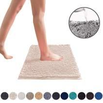 DEARTOWN Non-Slip Shaggy Bathroom Rug,Soft Microfibers Chenille Bath Mat with Water Absorbent, Machine Washable(Cream,20x32 Inches)