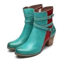 gracosy Block Heel Ankle Booties, Women's Leather Ankle Boots Buckle Strap Short Bootie Splicing Pattern Side Zipper