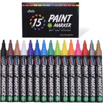 Paint Pens, Lelix 15 Pack Oil Based Permanent Paint Markers for Rock Painting, Wood, Metal, Ceramic, Glass and Almost All Surfaces, Medium Tip with Quick Dry, Water Resistant Ink