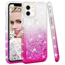 SOKAD iPhone 11 Case Gradient Quicksand Glitter Bling Flowing Liquid Floating Soft TPU Bumper and Hard PC Shockproof Diamond Case for iPhone 11 2019 6.1 Inch-Pink