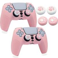 PS5 Controller Skins, BRHE 2 Packs Cute Silicone Cover Kawaii Protective Case Scratch-Resistant Anti-Slip Shell Set with 4 Cat Claw Thumb Grip Caps for PlayStation5 Controller (Pink)