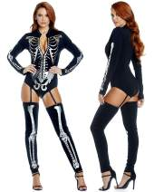 Quesera Women's Halloween Costumes Skeleton Skinny Jumpsuit Stretch Zip Bodysuit