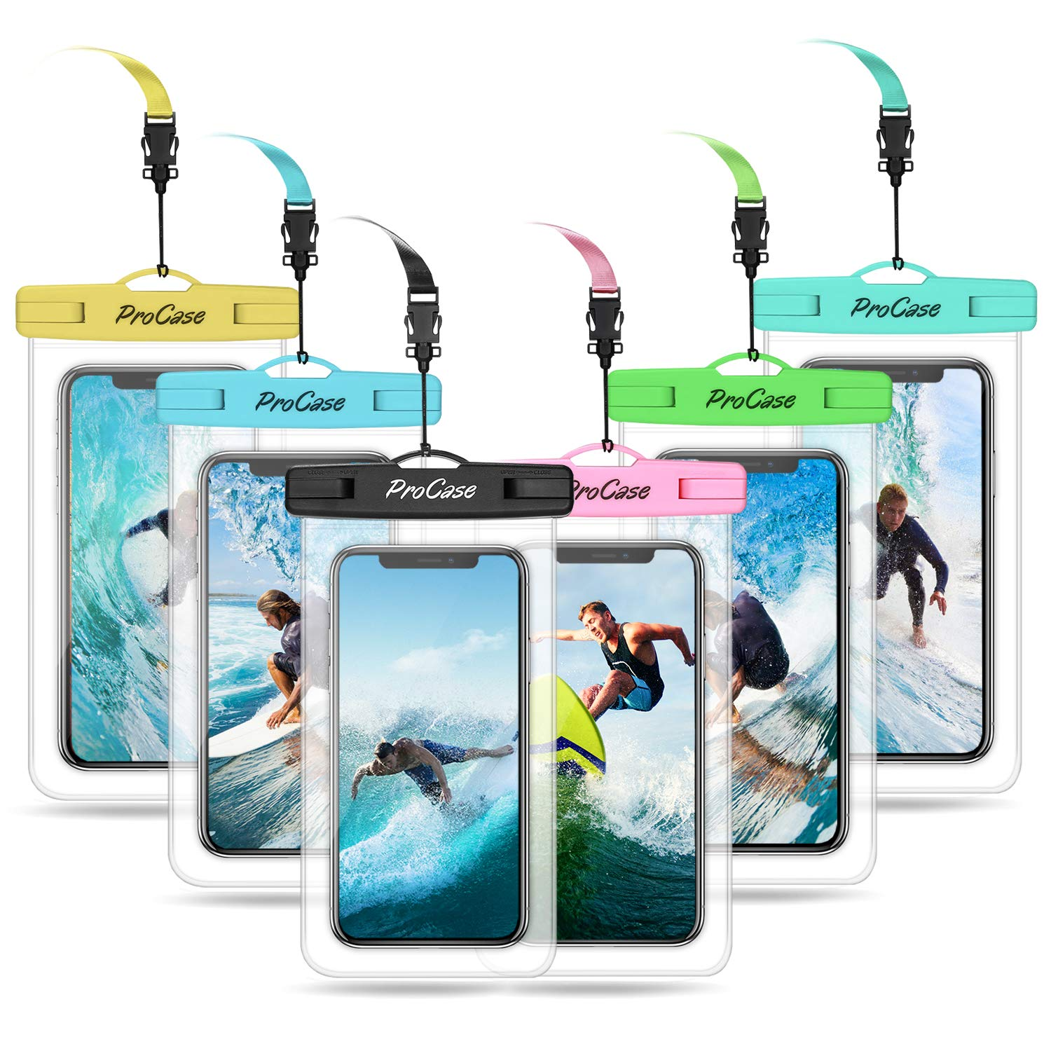 """Procase Universal Waterproof Pouch Cellphone Dry Bag Underwater Case for iPhone 11 Pro Max Xs Max XR 8 7 SE 2020 Galaxy S20 Ultra up to 6.9"""", Waterproof Phone Case for Beach Snorkeling -6 Pack"""