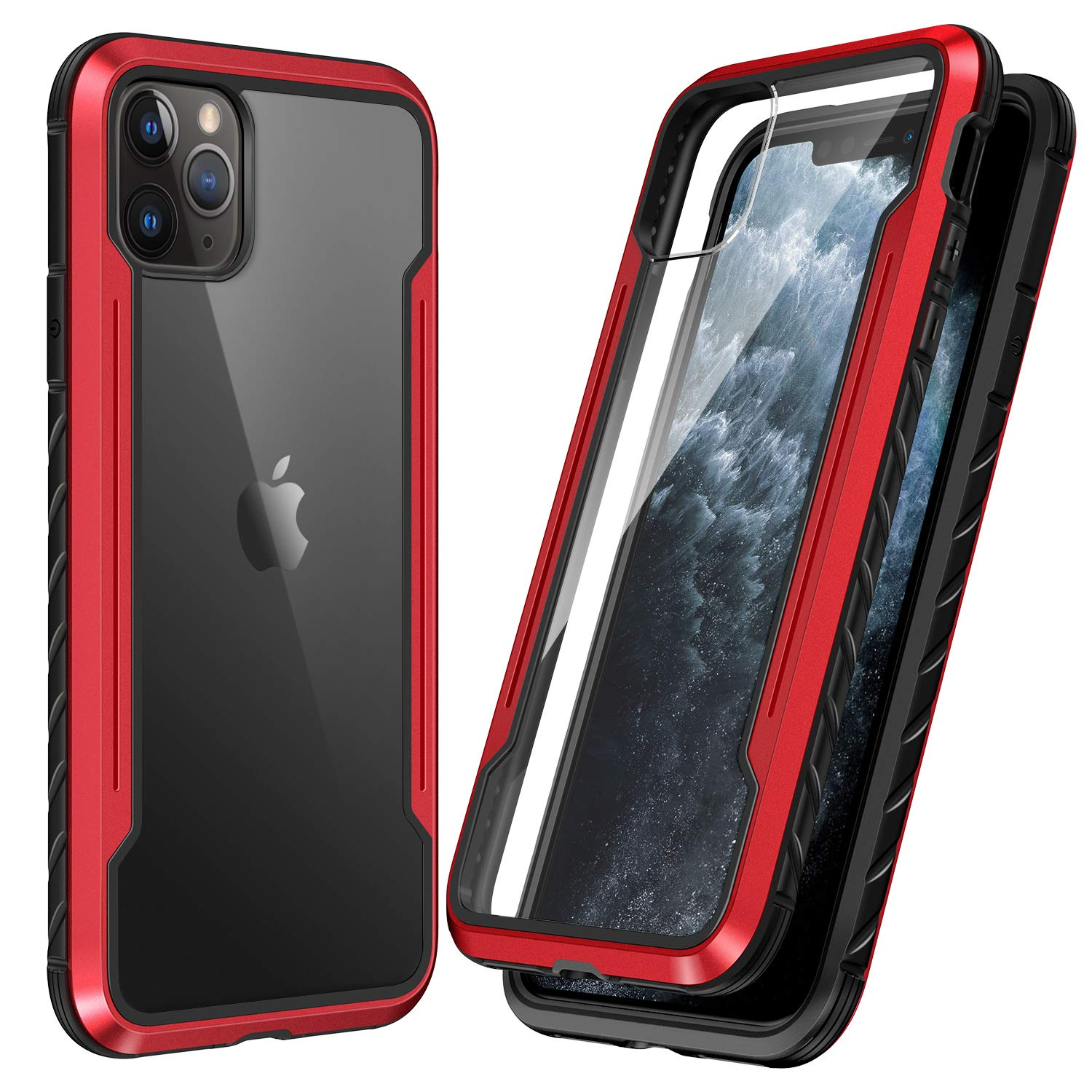 SmartDevil Shatterproof Series Designed for iPhone 11 Pro Cases, Passed Military Grade Drop Test, Anodized Aluminum, TPU, and Hard PC Protective Case for iPhone 11 Pro 5.8 Inch (Red)