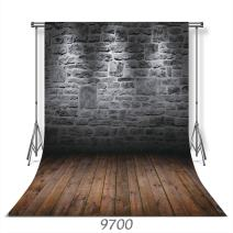 WOLADA 10x10FT Vinyl Brick Wall Wood Floor Photography Background Studio Photo Props Backdrop Studio Props 9700