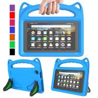 "MENZO Kids Case for All-New Fire 7 Tablet (9th Generation - 2019 Release), Light Weight Shockproof Handle Stand Kids Friendly Case for Amazon Fire 7 2019 & 2017 (7"" Display), Blue"