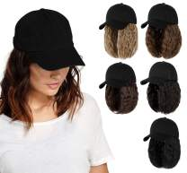 AynnQueen Baseball Cap with Hair Extensions for Women Adjustable Hat with Synthetic Wig Attached 14inch Kinky Curly Hair Black Baseball Cap (Baby Blonde Mix Bleach Blonde)