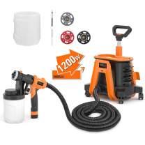 Paint Sprayer, Tacklife SGP17AC 1200W Hvlp Paint Gun, 1100ml/min& 1200ml Detachable Containers, Universal Wheel, Perfect for priming, painting, etc.