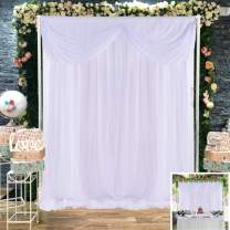 White Tulle Backdrop Curtain Wedding Shower Curtains Backdrop Drapes for Baby Shower Girl Birthday Photography Background Decor 5 ft X 7 ft