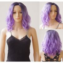 S-noilite 14 inch Body Wave Lace Front Wigs (Glueless Wig Cap + Hairnet) Medium Loose Bob Wig Curly Synthetic U Part Full Wig Daily Use Costume Party Dress For Black Women (Natural Black To Purple)