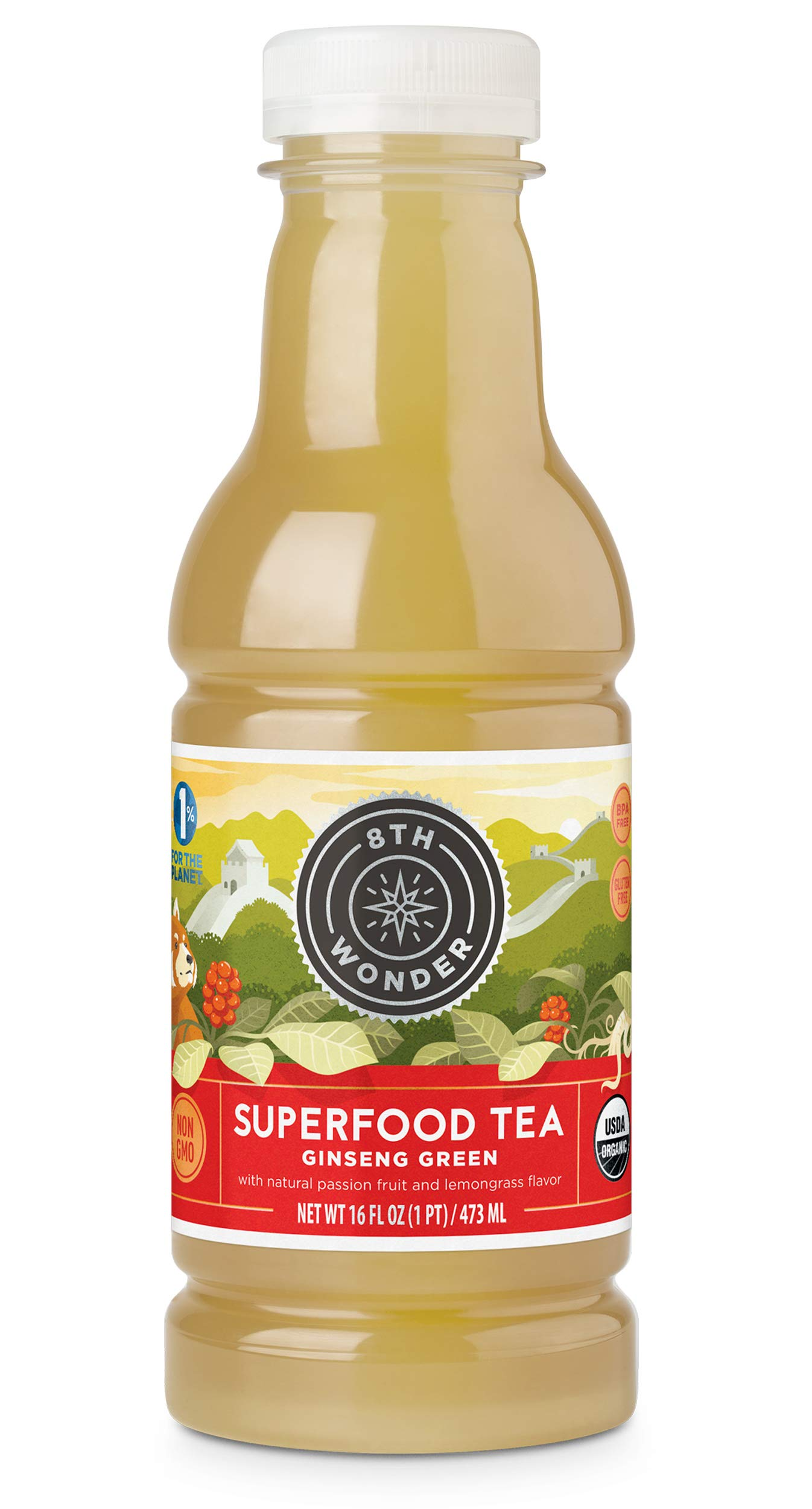 8th Wonder Organic Green Tea, All Natural, Low Calorie Superfood Iced Tea   Ginseng Passion Green Tea   16 Fluid Ounce Bottled Iced Tea Pack of 6   Boost Energy, Reduce Fatigue, Improve Brain Function