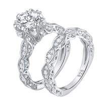Wuziwen 4ct Cubic Zirconia Simulated Diamond Wedding Engagement Ring Sets Sterling Silver