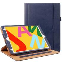 ZoneFoker New iPad 7th Generation Tablet Leather Case (10.2-inch,2019 Releases), 360 Degree Rotating Multi-Angle Viewing Folio Stand Cases with Pencil Holder for iPad 10.2 7th Gen - Blue
