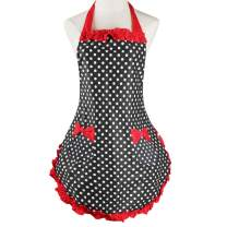 Violet Mist Women Apron Personalized Stylish Retro Lacy Vintage Flirty Maid Cooking Kitchen Working Aprons (Red6)