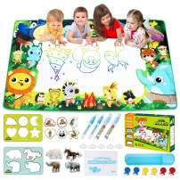 Large Doodle Mat, Large Water Drawing Mat for Kids MAGIC Water Doodle Drawing Mat Mess-Free, Non-Toxic, Eco-Friendly, Reusable 59 Inches x 35 Inches Includes Drawing Guide, Stencils