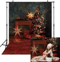 Allenjoy 5x7ft Vinyl Vintage Christmas Tree Backdrop Rustic Wall Sparkle Stars Winter Holiday Xmas Photography Background for Portrait Pictures Family Party Decorations Photo Booth Studio Props