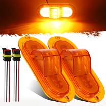 Partsam 2Pcs 6 Inch Oval Led Mid Ship Turn Signal and Side Marker Clearance Lights Amber Lens Sealed with 3-Wire Pigtail for Led Trailer Lights, Weathertight Plug