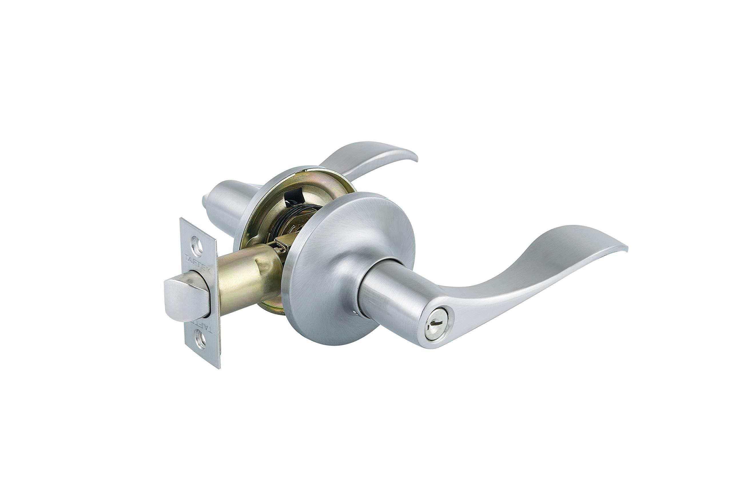 """Taftek AML101 Wave Entry Lever Door Lock in Satin Nickel Door Thickness 1-3/8"""" to 1-3/4"""""""