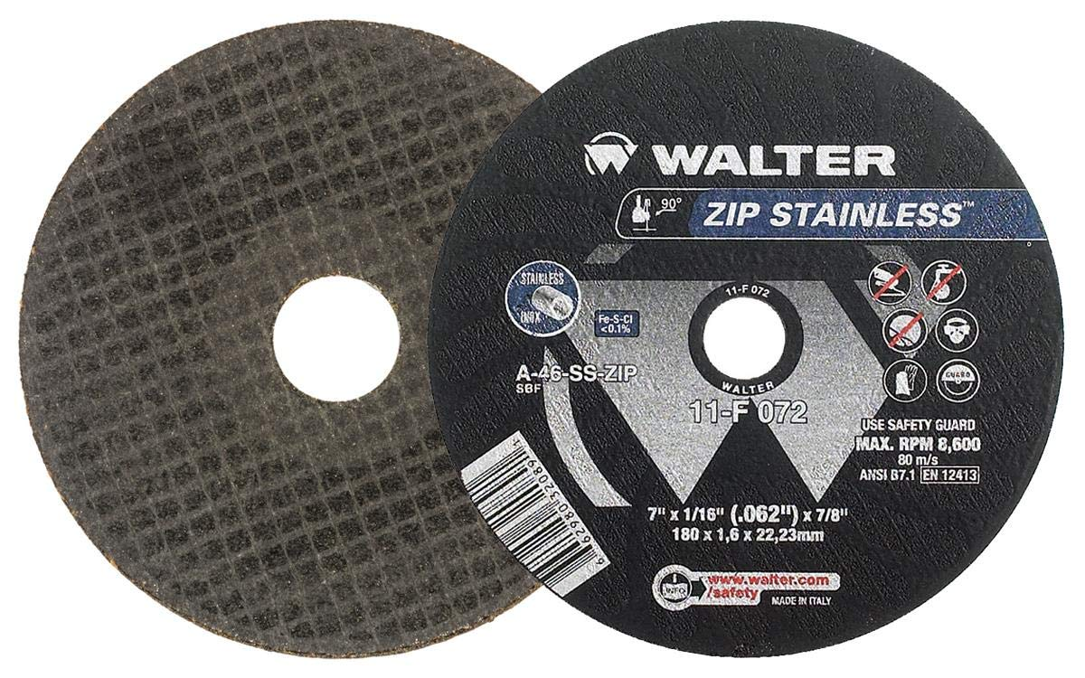 Walter 11F042 ZIP Stainless Cutoff Wheel - [Pack of 25] A-60-SS ZIP Grit, Type 1, 4-1/2 in. Abrasive Wheel for Cutting Pipes, Hard Surfaces