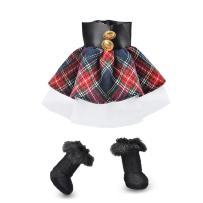 E-TING Santa Couture Clothing for elf Doll is not Included (Red-Blue Plaid Dress with Boots) Christmas Decoration