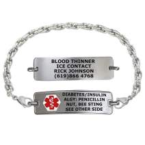 Divoti Custom Engraved Medical Alert Bracelets for Women, Stainless Steel Medical Bracelet, Medical ID Bracelet w/Free Engraving – Classic Tag w/Rope Chain – Color/Size