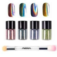 ANGNYA 4 Colors Nail Holographic Laser Glitter Powder Rainbow Chrome With Double-ended Rhinestone Sponge Brush Nail Art Set (5g/bottle)