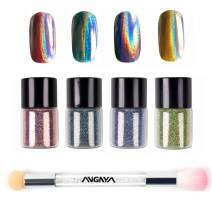 ANGNYA 4 Colors Nail Holographic Laser Glitter Powder Rainbow Chrome With Double-ended Rhinestone Sponge Brush Nail Art Set (5g/bottle)