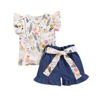 Toddler Baby Girl Floral Shorts Set Sunflower Ruffle Sleeve T-Shirt Bow Shorts Summer Outfits 2Pcs Clothes