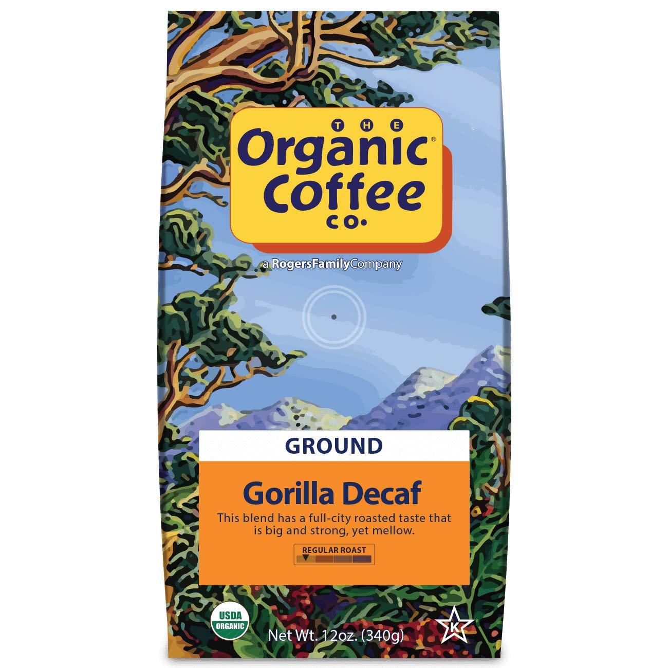 The Organic Coffee Co. Gorilla Decaf Ground Coffee 12 Ounce Medium Light Roast Natural Water Processed USDA Organic