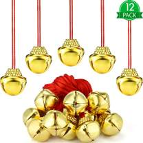 Jingle Gold Bell Necklaces Large Christmas Bell Necklaces for Craft Holiday Party Supplies (Gold Bell Red Rope, 12 Pieces)