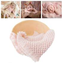 Newborn Photography Wrap | Knitted Blanket for Baby Photo Props | 14 X 63 inch Newborn Rug Basket Filler with Tassel Pink