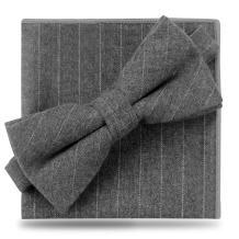 Bow Ties For Men, YFWOOD Cotton Men's Pre-tie Plaid Tuxedo Neck Bowtie Casual Bow Ties Pocket Square Set