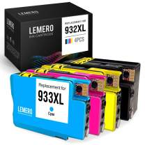 LEMERO Compatible Ink Cartridge Replacement for HP 932XL 933XL 932 XL 933 XL for OfficeJet 7612 6700 6600 7610 6100 7110 (1 Black, 1 Cyan, 1 Magenta, 1 Yellow, 4-Pack)