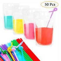 50 Pcs Drink Pouches With Straws - Smoothie Drink Bags Juice Pouch for Adults & Kids No Leak Resealable Double Zipper Clear Drinking Bags for Cold & Hot Drinks