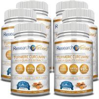 Research Verified Turmeric Curcumin - Vegan with BioPerine 95% Standardized Curcuminoids - Natural Anti-Inflammatory, Antioxidant, Pain Relief and Antidepressant - 6 Bottles (6 Months Supply)