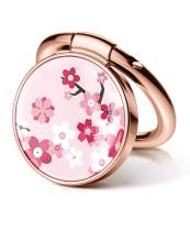GVIEWIN Flower Cell Phone Ring Holder Finger Kickstand, Metal Ring Grip Holder for Magnetic Car Mount Compatible with iPhone 11 Pro Max/X/XR/SE 2020 and Other Smartphones (Peach Blossom/Pink)