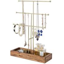 MyGift 3-Tier Acacia Wood & Brass Metal Tabletop Jewelry Necklace & Bracelet Organizer Tree Rack with Ring Tray