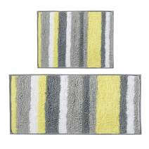 HEBE Microfiber Bath Rug Runner Set 2 Piece Non Slip Absorbent Bath Mats Runner Set for Bathroom Long Kitchen Floor Mat Rug Runner Set Machine Washable(Yellow/Grey)