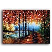 YaSheng Art -Landscape Oil Painting On Canvas Textured Silver Birch Tree Abstract Contemporary Art Wall Paintings Handmade Painting Home Office Decorations Canvas Wall Art Painting 24x36inch