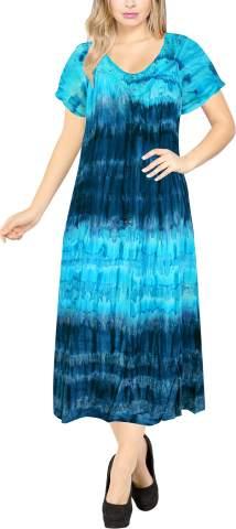 LA LEELA Women's Beach Dress Prom Party Cocktail Dress for Women Hand Tie Dye A