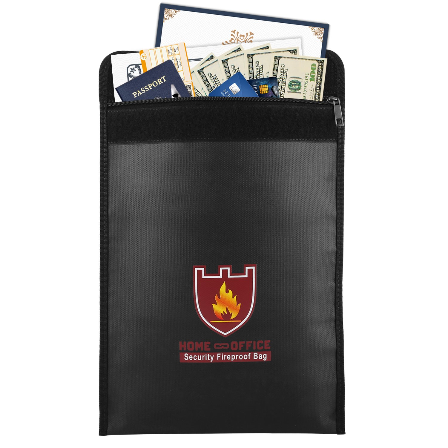 """Fireproof Money & Document Bag, MoKo 15"""" x 11"""" Fire & Water Resistant Cash & Envelope Holder, Protect Your Valuables, Documents, Money, Jewelry, Zipper Closure for Maximum Protection, Black"""