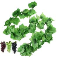 Hecaty 87 Ft 12 Strands Artificial Fake Grape Vines with 3 Strings Grapes, Hanging Plant Large Leaves Garland for Wedding Party Store Home Decor Indoor Outdoors (Grape and Garlands)