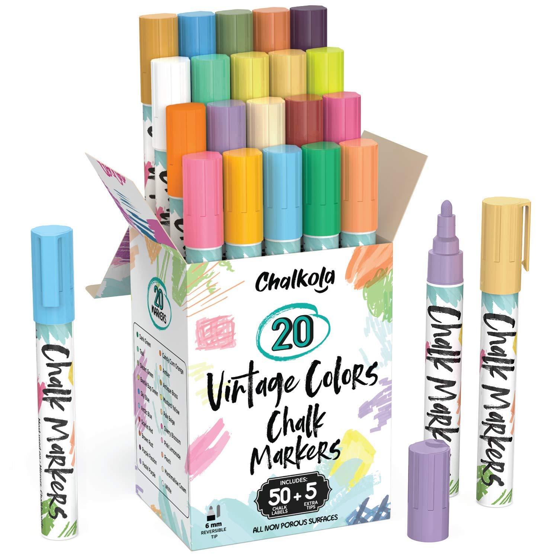 Liquid Chalk Markers for Chalkboard (20 Vintage Colors) - Bold Dry Erase Marker Pens for Blackboard, Windows, Chalkboards Signs, Bistro - 6mm Reversible Tip - 50 Chalk Labels + 5 Extra Nibs Included