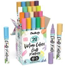 Liquid Chalk Markers for Chalkboard (20 Vintage Colors) - Bold Dry Erase Marker Pens for Blackboard, Windows, Chalkboards Signs, Bistro - 6mm Reversible Tip - 50 Chalk Labels + 5 Extra Nibs Included