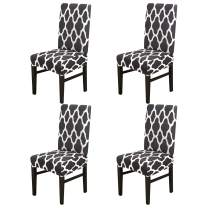 YIMEIS Comfort Stretch Dining Room Chair Covers, Dining Chair Protector, Removable Washable Short Dining Chair Seat Covers for Dining Room, Kitchen, Party (Pack of 4, Black)