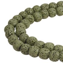 """NBEADS 2 Strands 104 Pcs 8mm Synthetical Lava Stone Gemstone Loose Beads, Dark Olive Green Round Crystal Energy Stone Healing Power for Jewelry Making Findings, 1 Strand 15.5"""""""