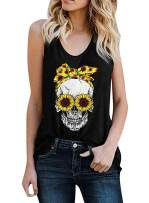 Lovezesent Womens Sunflower Skull Print Racerback Tank Tops Casual Loose Shirt