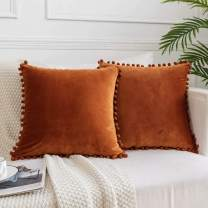JUSPURBET Decorative Velvet Pillow Covers with Cute Pom Poms,Pack of 2 Soft Cushion Cases for Couch Sofa Bed,26x26 Inches,Rust