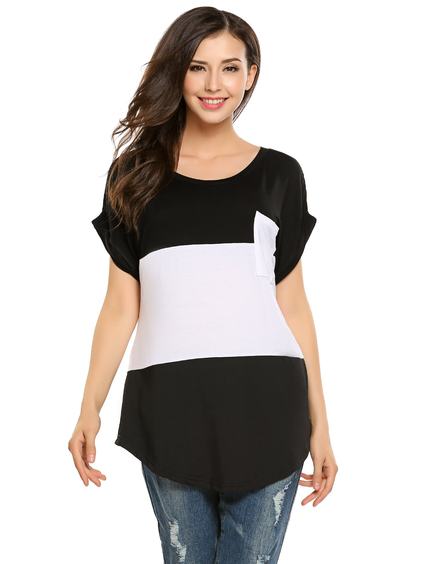 Zeagoo Women Casual Color Block Top Short Sleeve Loose T Shirt Tunic with Pocket